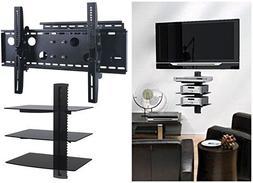 2xhome – NEW TV Wall Mount Bracket  & Triple Shelf Package