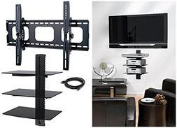 2xhome - NEW TV Wall Mount Bracket & Triple Shelf Package Fo