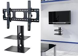2xhome TV Wall Mount Bracket LED LCD Plastic with Shelf Comb