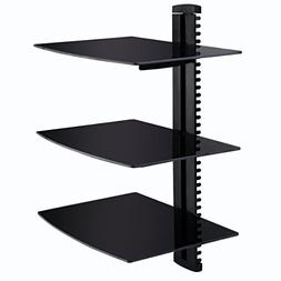 Giantex 3 Tier Dual Glass Shelf Wall Mount Bracket Under TV