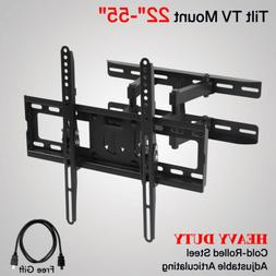 "Full Motion TV Wall Mount Tilt Swivel VESA Bracket 22""-55"" L"