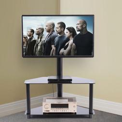 Rfiver Black Corner Floor TV Stand with Swivel Mount Bracket