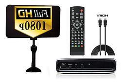 Digital Converter Box + Flat Antenna + HDMI Cord for Recordi