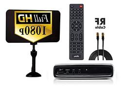 Digital Converter Box + Flat Antenna + Coaxial Cable for Ove