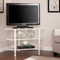 Jaymes Corner TV Stand in White Finish