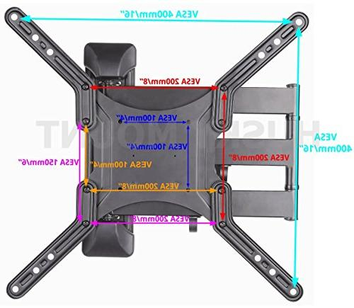 Husky Mount Motion TV Mount Tilt Swivel Heavy Friendly Articulating TV fits LED LCD Screen VESA 400x400 66 Capacity