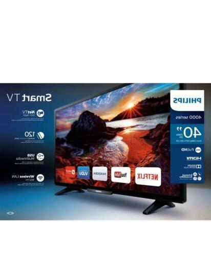 "New Philips 40"" Inch FULL HD 1080P Smart LED TV w/ 3 HDMI &"