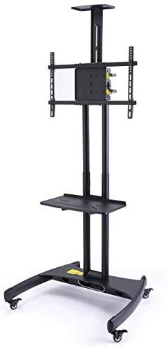 Displays2go Adjustable Flat Panel TV Stands with Lockable Wh