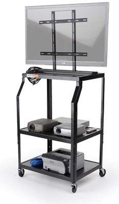 Displays2go AV Cart with Mounting Bracket for Flat-Screen Mo