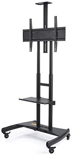 Displays2go Commercial Flat Screen TV Holder, Locking Wheels