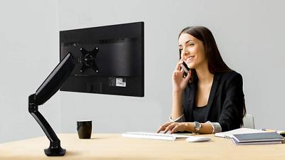 Computer Monitor Desk Mount Full Motion Single LCD Arm For