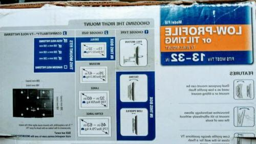 "Flat screen LED TV Wall Mount 13-32"", tilting,"