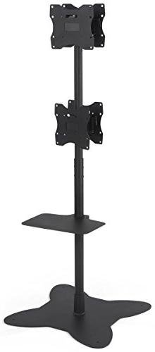 Displays2go Floor Standing Quad Monitor Stands, Double Sided
