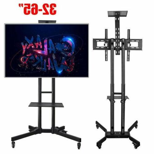 Adjustable Mobile TV Stand Mount Universal Flat Screen Rolli