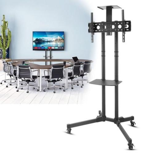Mobile TV Cart Stand Rolling LCD LED OLED Flat Screens Adjus