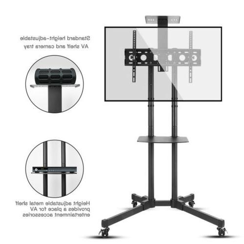 Mobile Rolling TV Cart Stand LCD Flat Screens Adjustable AV Top
