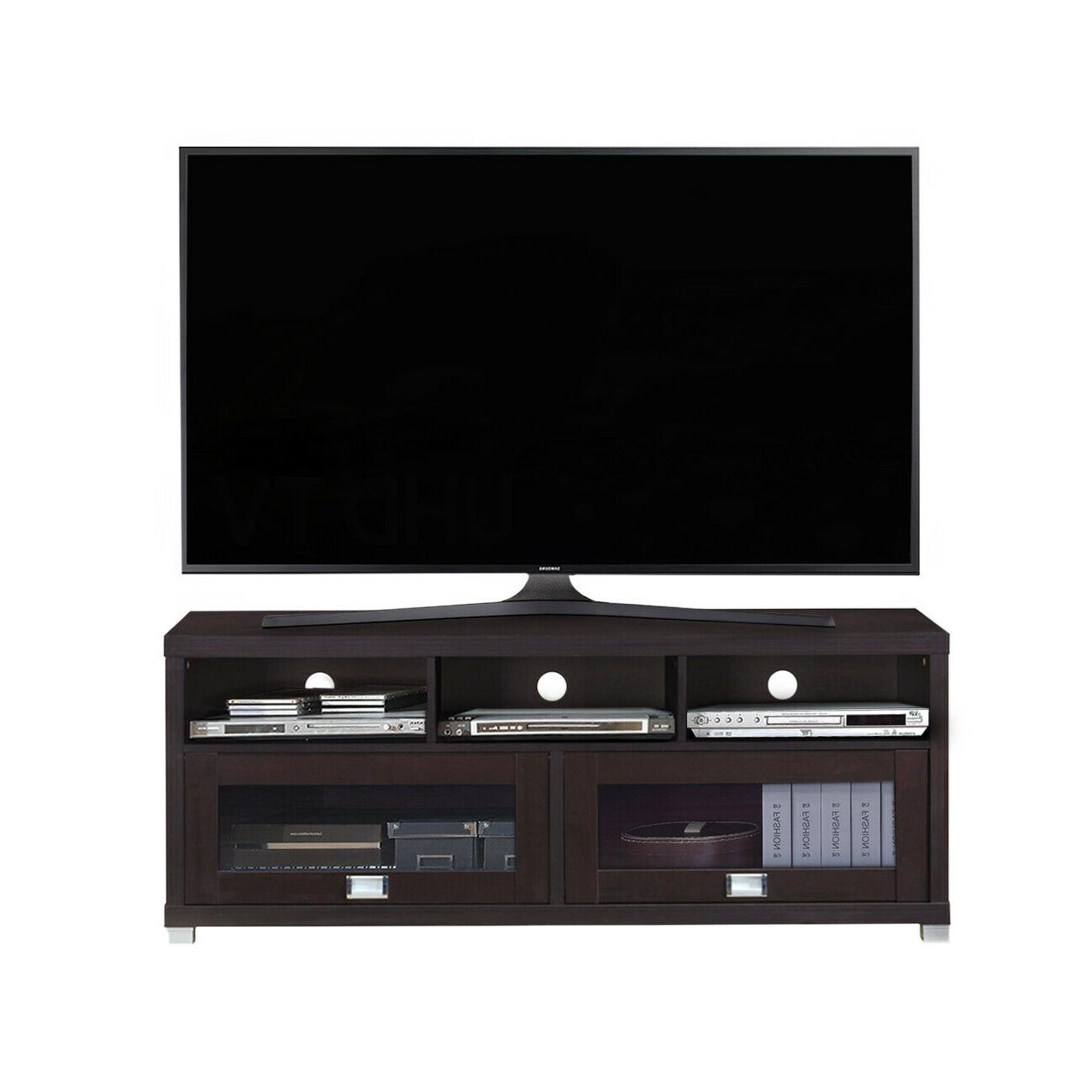 75 TV STAND Center Cabinet Screen Media Cabinets Espresso