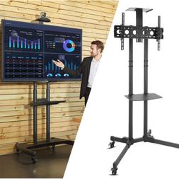 Mobile Rolling TV Cart Stand LCD LED OLED Flat Screens Adjus