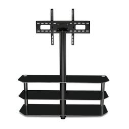 Mount-It! TV Center Stand With Mount and Glass Shelves for A