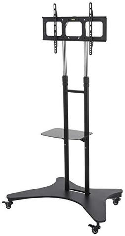 Displays2go Rolling TV Cart Shelf, Steel Aluminum Constructi