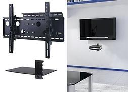 2xhome – NEW TV Wall Mount Bracket  & Single Shelf Package