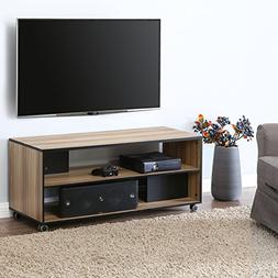 FITUEYES Wood TV Stand Storage Console with Wheels for 23 32